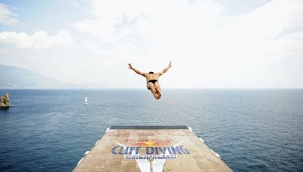 Kent De Mond of USA dives from the 26.9 metre platform under the Swallow's Nest Castle during the first training session of the seventh and final stop of the Red Bull Cliff Diving World Series, Yalta, Ukraine on September 2, 2011.